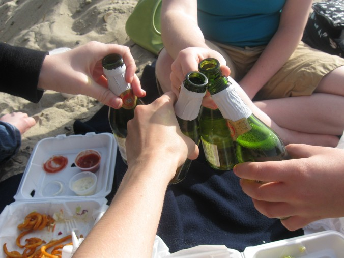 We also brought mini bottles of Martinelli's.