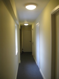Swipe card #1: the hallway.  Cheerful.