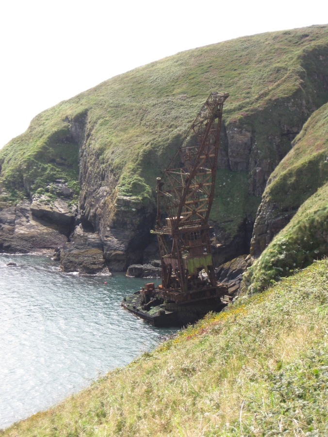 The wreck of a crane ship which was beached during a storm while being towed from Liverpool to Malta.