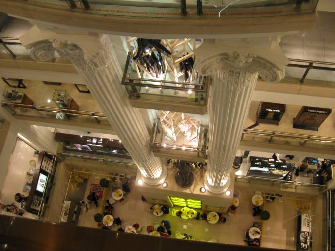 Selfridge's. We had tea in that yellow cafe in the bottom.